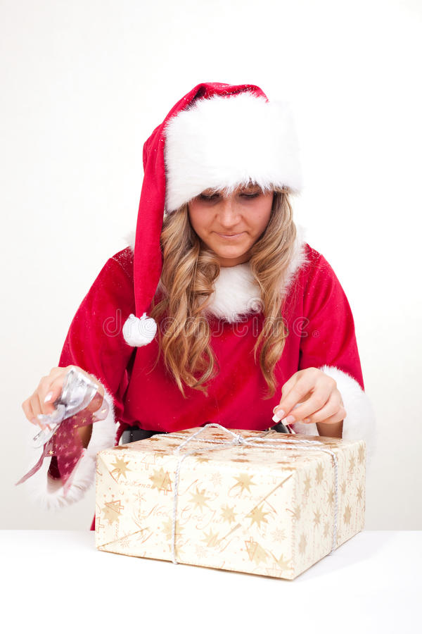 Download Young Christmas Woman Is Opening An Xmas Presents Stock Image - Image: 11675821