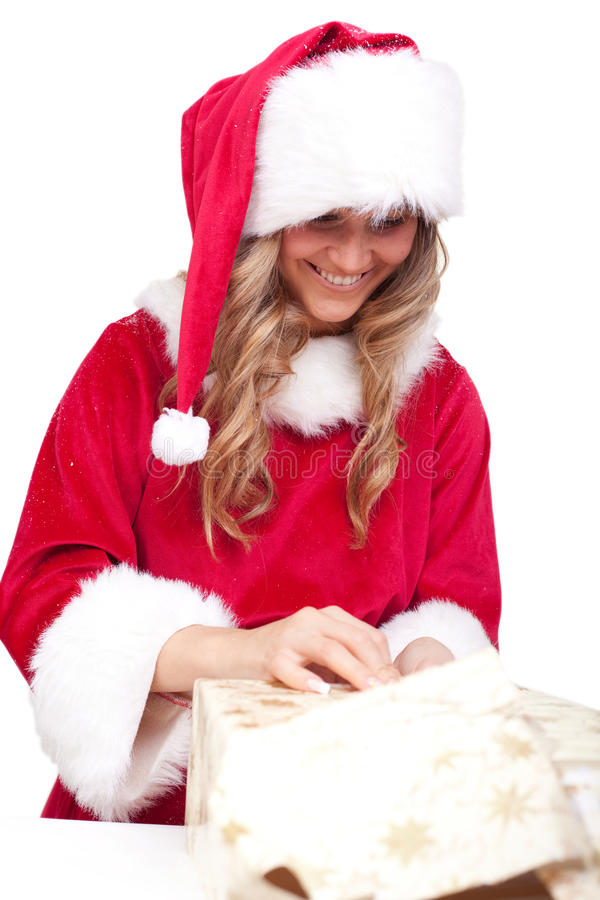 Download Young Christmas Woman Is Opening An Xmas Presents Stock Image - Image of december, christmaswoman: 11675983