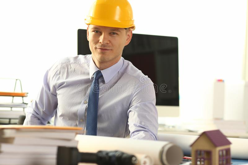Young Civil Builder Working on Building Sketch stock photos