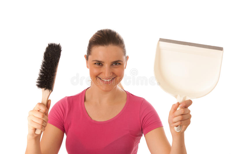 Young cleaner woman isolated over white royalty free stock photos