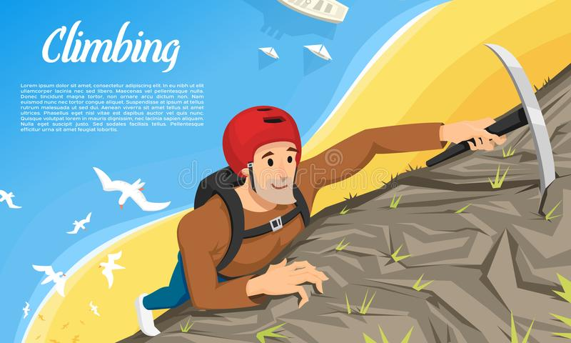 Young climber in protective helmet with Ice axe. Climbing a mountain. Activity Sport concept for poster. Tourist hiking vector illustration
