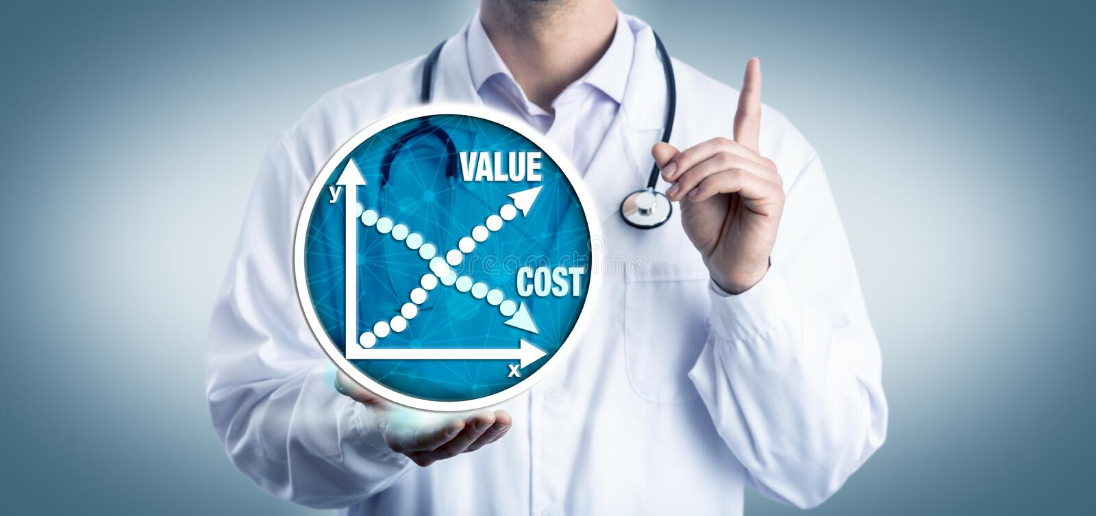 Young Clinician Advising On Cost Versus Value. Young clinician representative advising to consider the cost versus value of medicine. Health care concept for royalty free stock images