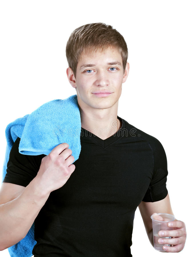 Young coach with towel