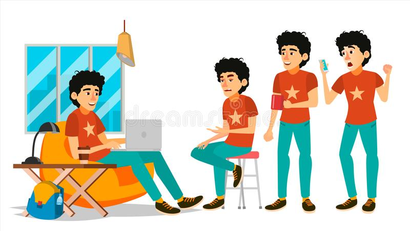 Junior Coder Character Vector. Working Male. IT Startup Business Company. Environment Process. Start Up. Programmer stock illustration