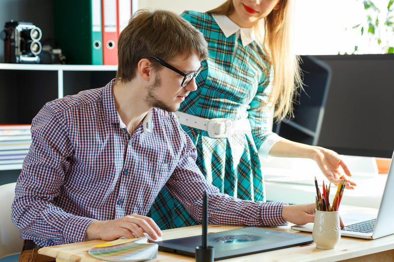 Young colleague working from home. Modern business concept royalty free stock photo