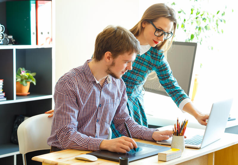 Young colleague working from home. Modern business concept royalty free stock photos