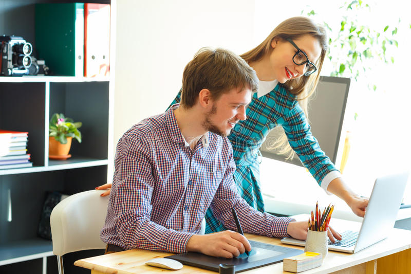Young colleague working from home. Modern business concept stock photos