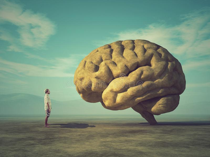 Conceptual image of a large stone in the shape of the human brain. The young and conceptual image of a large stone in the shape of the human brain stock photos