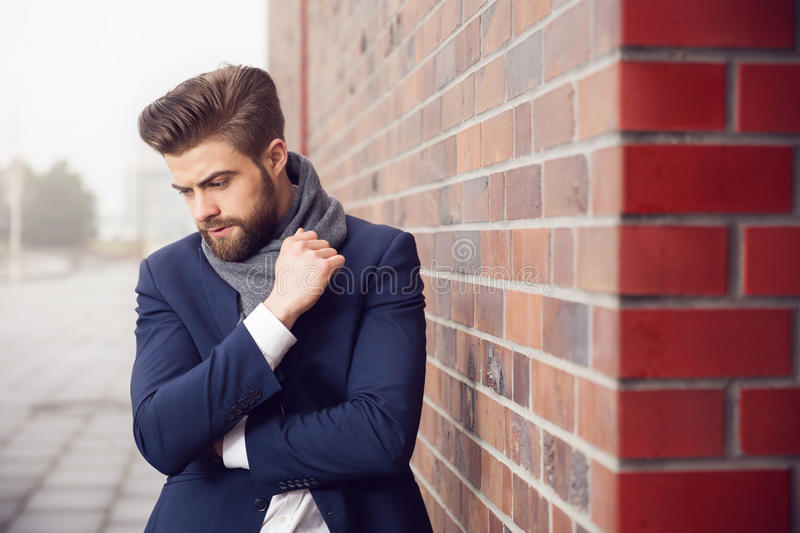 Young concerned man stock photo