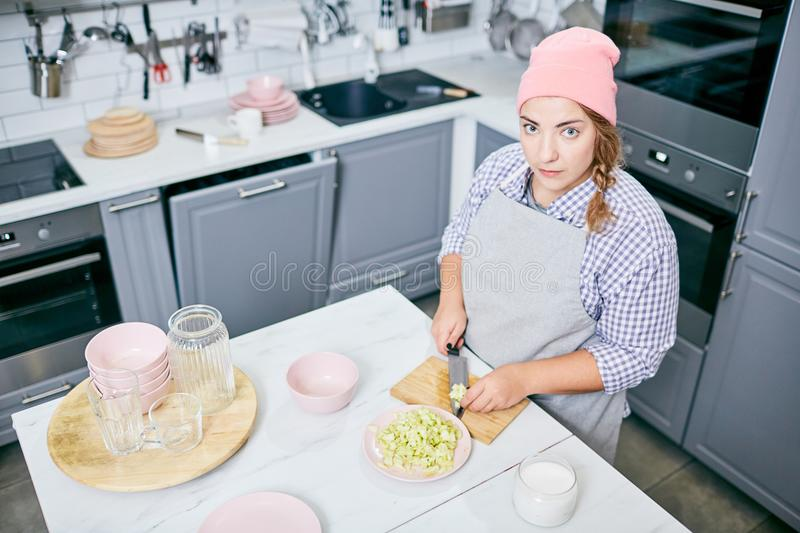 Young confectioner stock photo