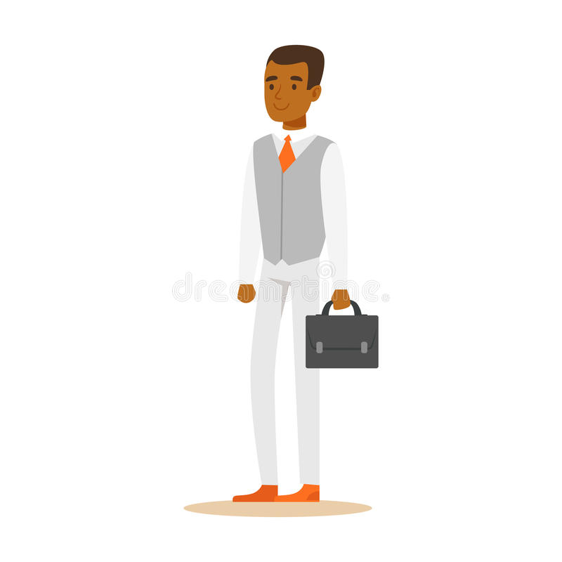 Young confident African American businessman with briefcase . Colorful cartoon character vector Illustration stock illustration