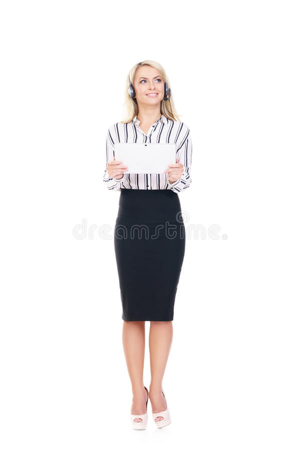 Young, confident and beautiful customer support operator with ta stock image