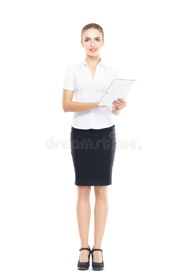 Young, confident and beautiful customer support operator with tablet computer isolated on white. royalty free stock photography