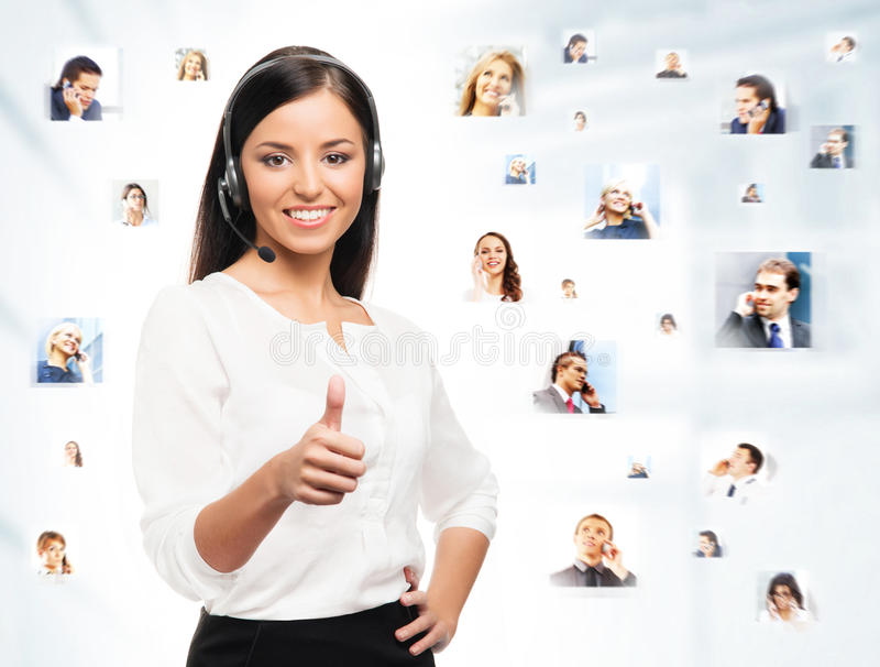 Young, confident and beautiful customer support operator stock photography