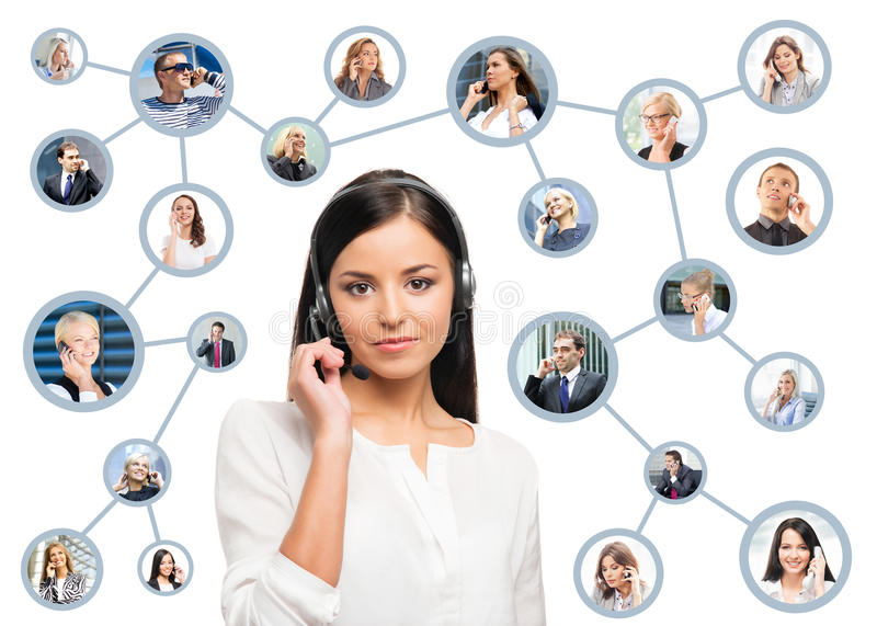 Young, confident and beautiful customer support operator. Working in a call center royalty free stock photography