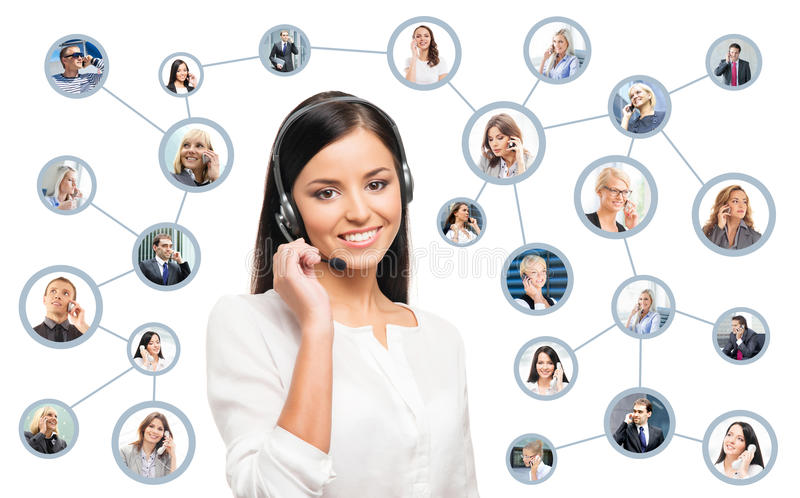 Young, confident and beautiful customer support operator. Working in a call center. World map on a background. International call center concept royalty free stock images
