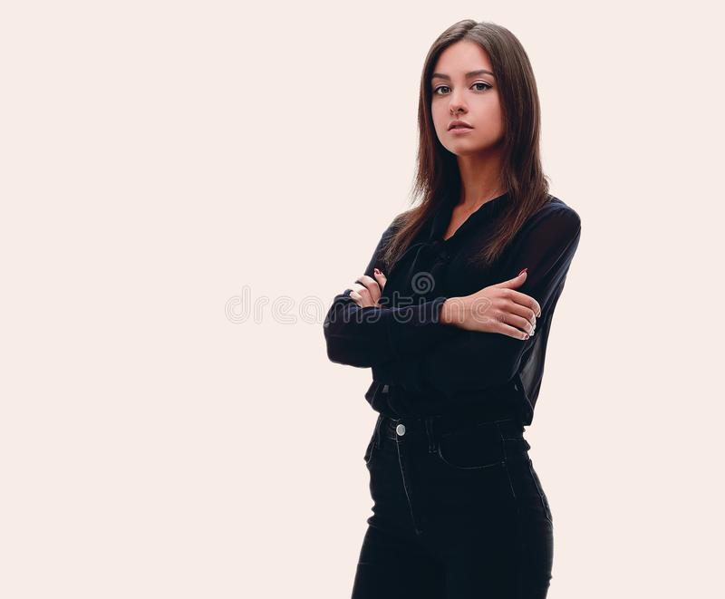 Young confident business woman. full-length portrait stock photography