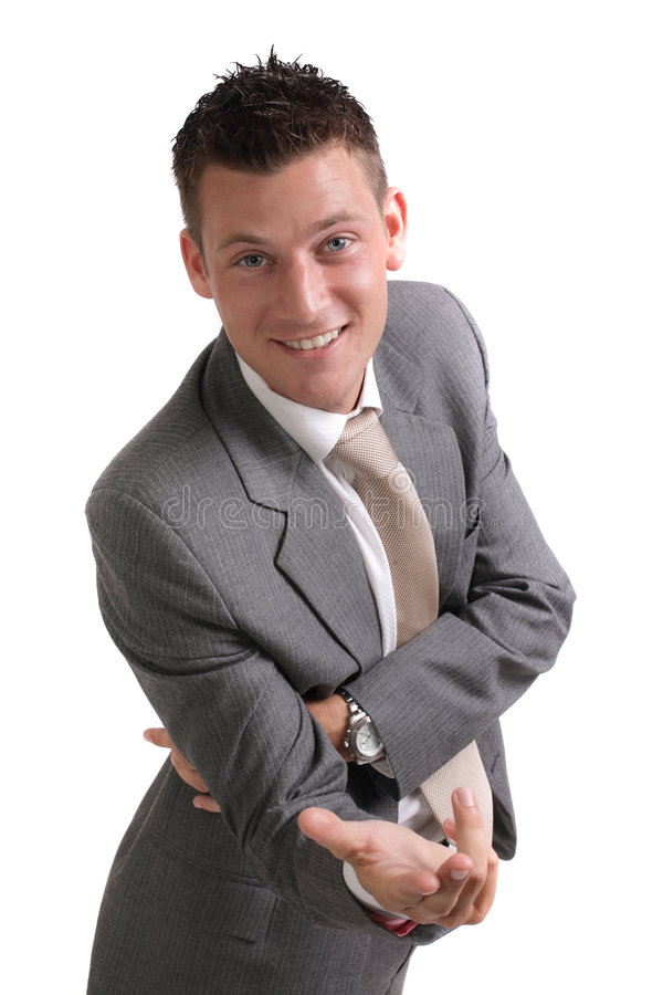 Young confident businessman. Isolated portrait of a young, smiling and confident businessman stock photos