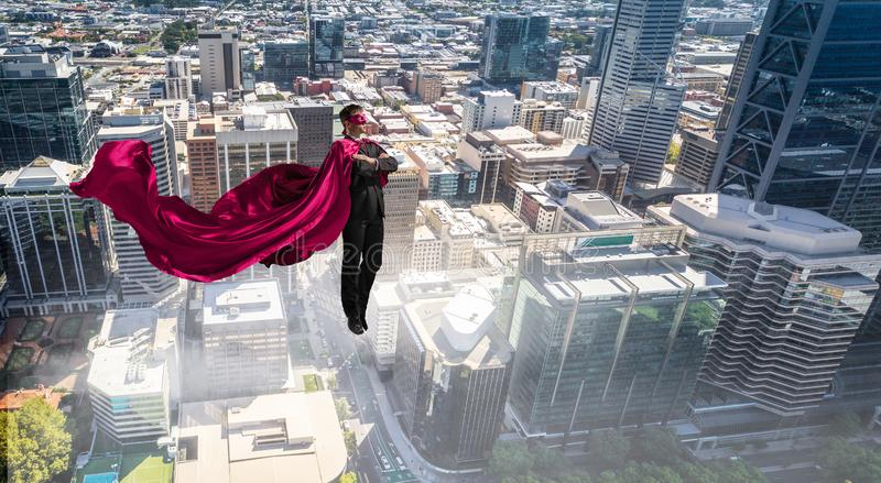 Super man in sky royalty free stock images