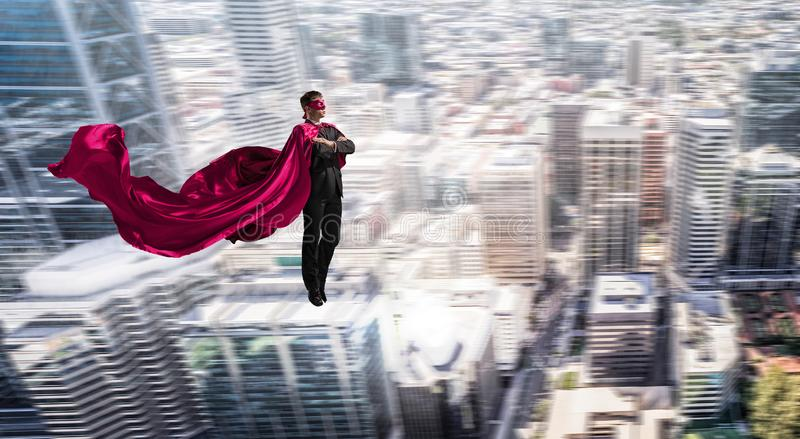 Super man in sky stock image