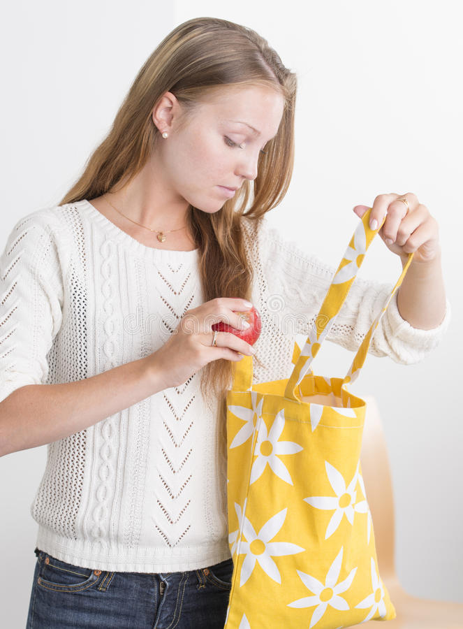 Download Young Confident Woman With Reusable Shopping Bag Stock Photography - Image: 26373062