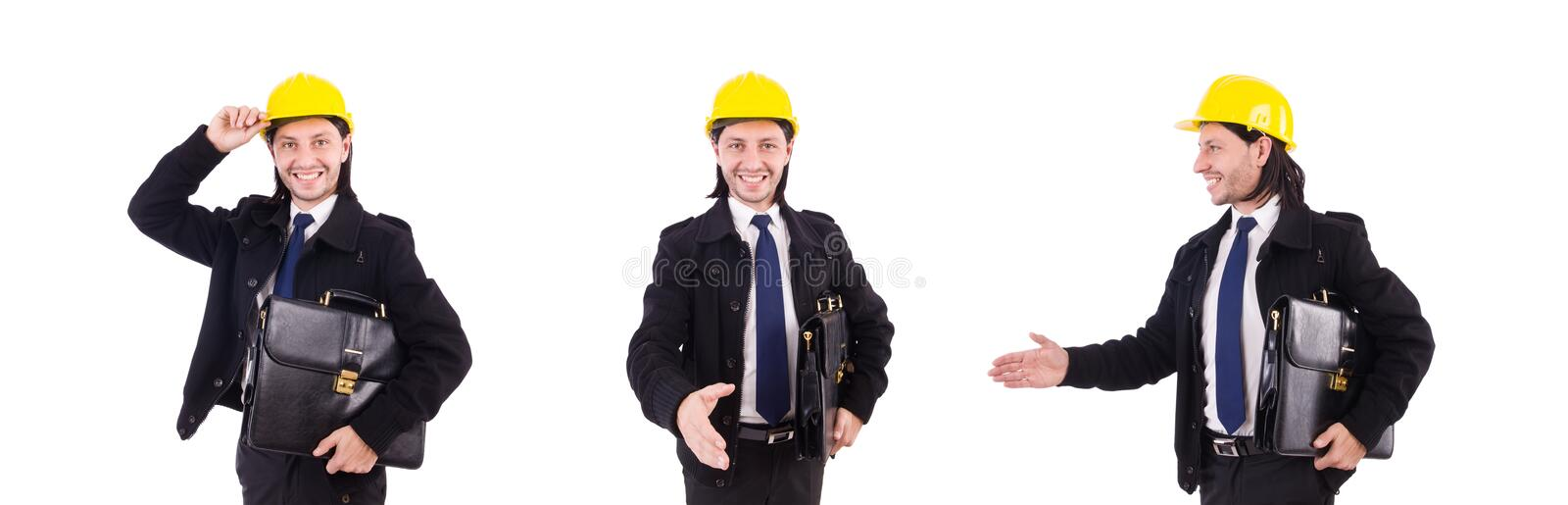 The young construction architect isolated on the white royalty free stock image