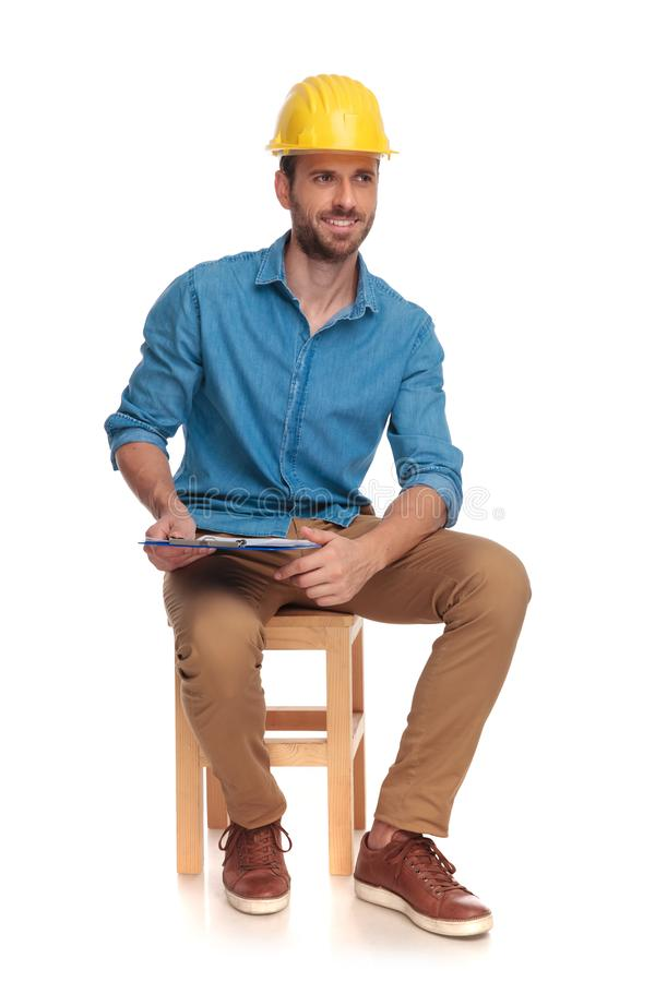 Free Young Construction Engineering Student Taking Notes Royalty Free Stock Photos - 125240108