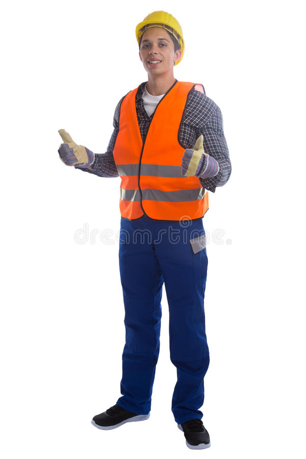 Young construction worker job thumbs up full body portrait isolated stock image