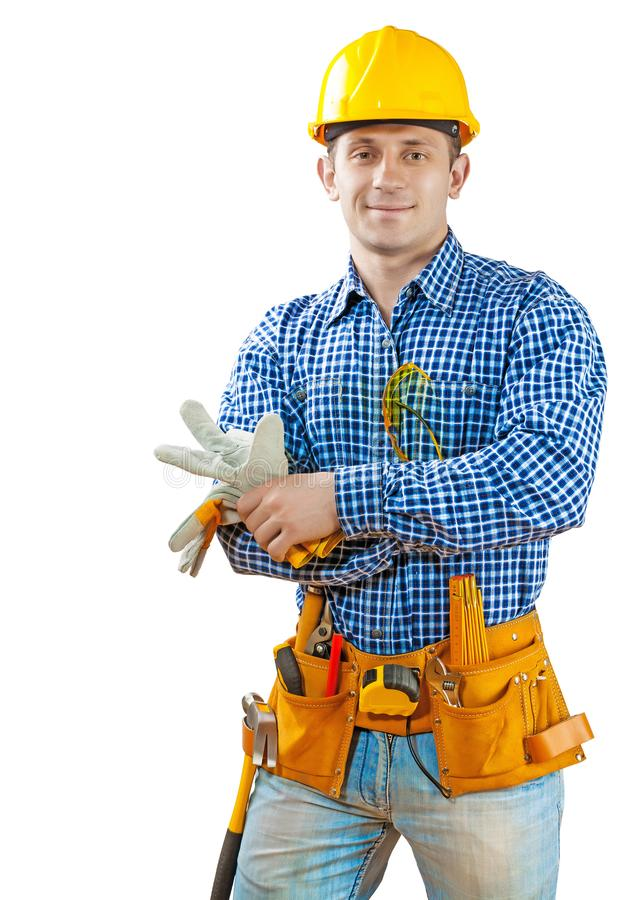 Young construction worker portrait isolated royalty free stock photos