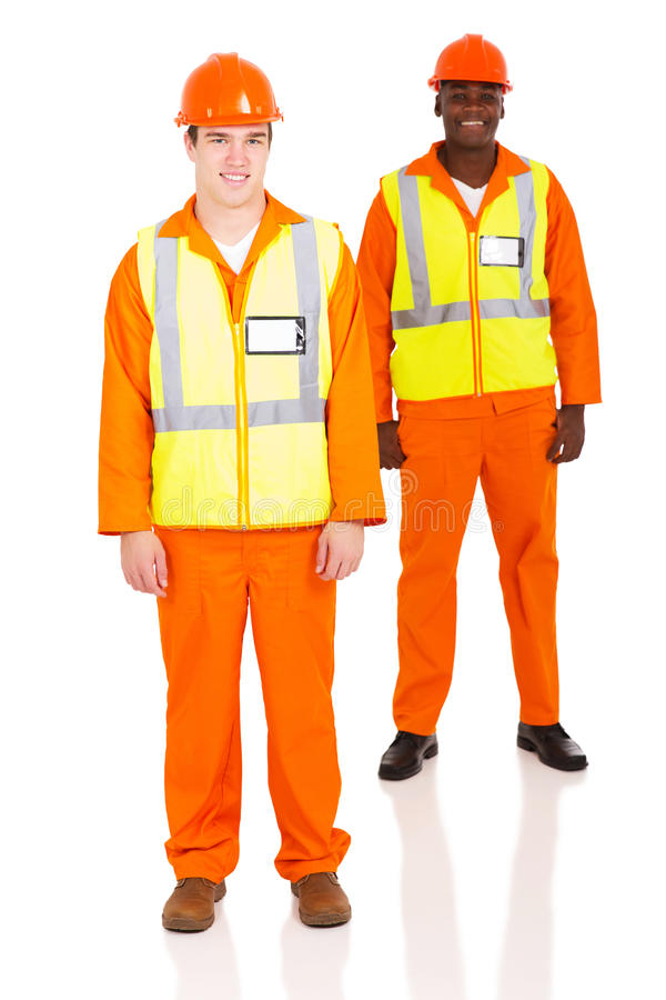 Young contractor and colleague royalty free stock photo