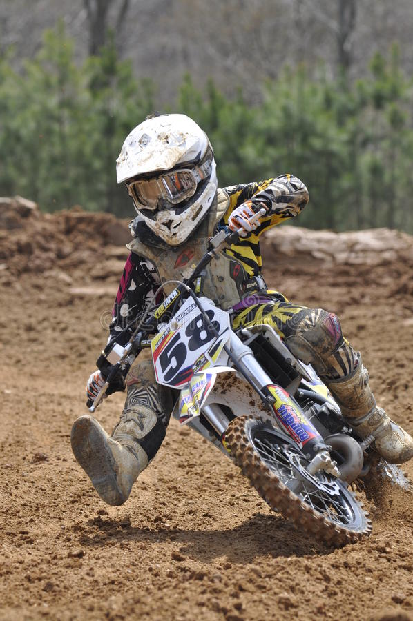 Young and in control dirt bike rider stock images