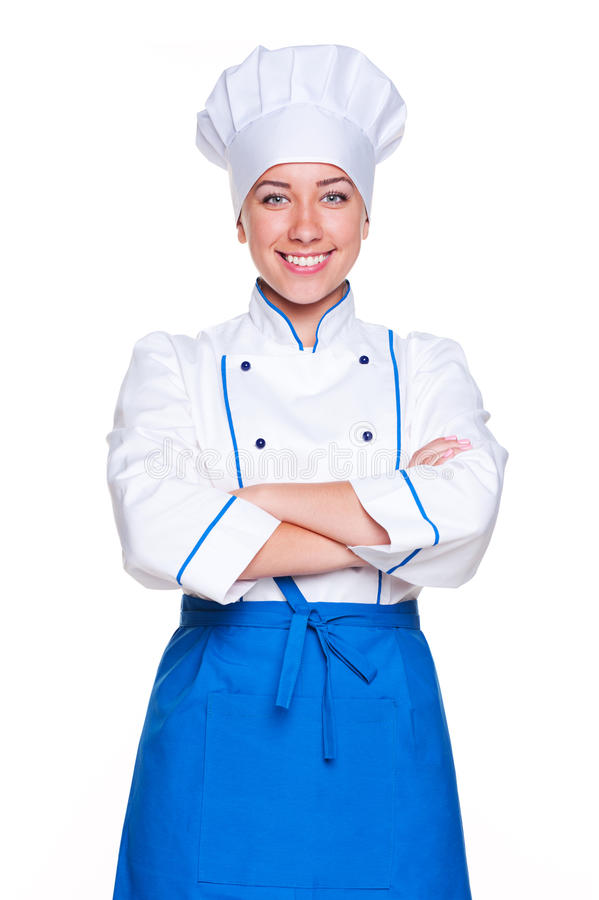 Download Young cook standing stock image. Image of cheerful, female - 25656337
