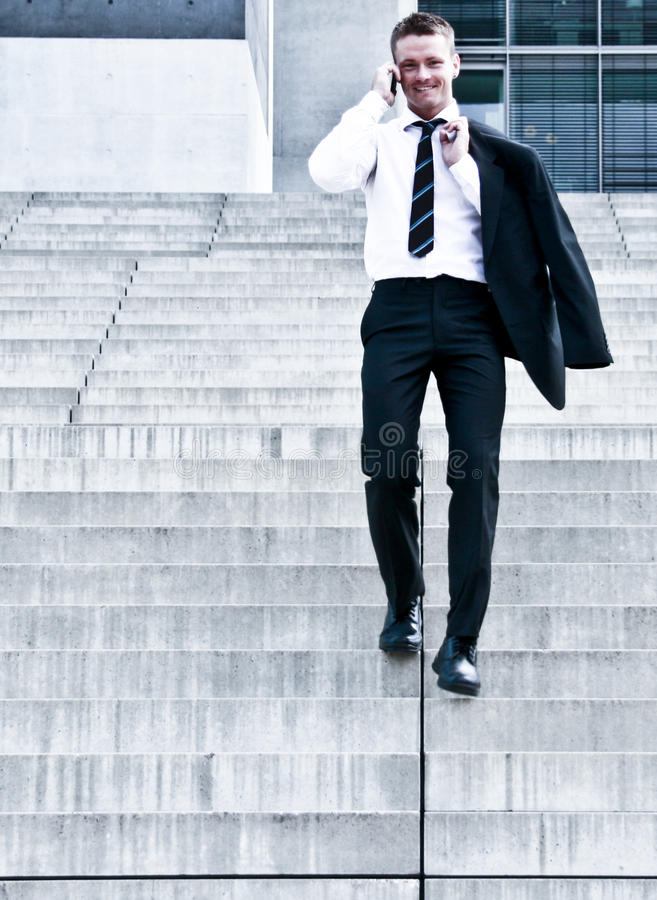 Download Young Corporate Man On Company Stairs Stock Image - Image: 10294835