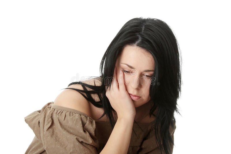 Young corpulent woman with depression stock photos