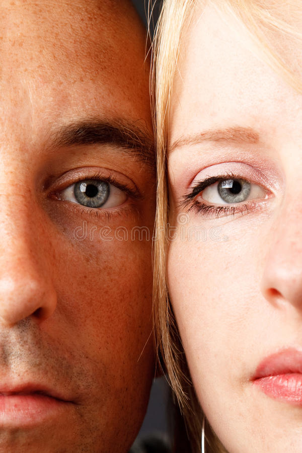 Young couple. Closeup young natural attractive couple with blue eyes