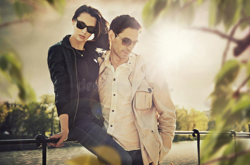 Young couple. Attractive young couple wearing sunglasses