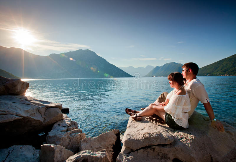 Young couple. Spending honeymoon joy sunrise stock photos