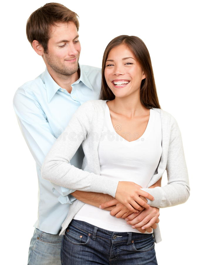 Young couple. Smiling happy. Interracial couple, Asian women, Caucasian men isolated on white background