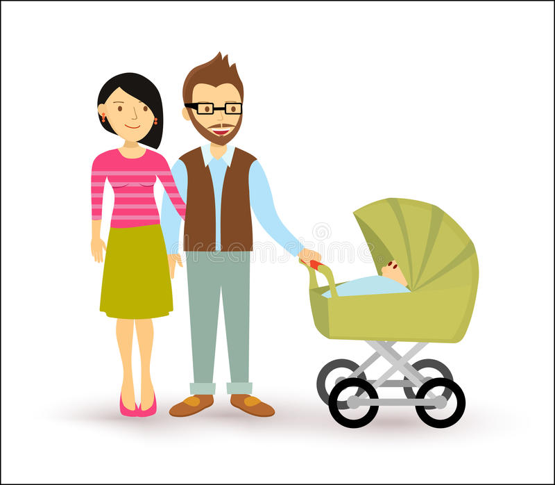 Young couple baby start family newborn people flat stock photo
