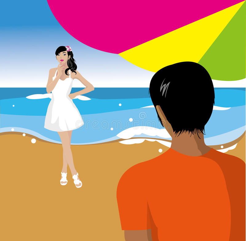 Download Young couple on the beach stock vector. Image of vacation - 21522151