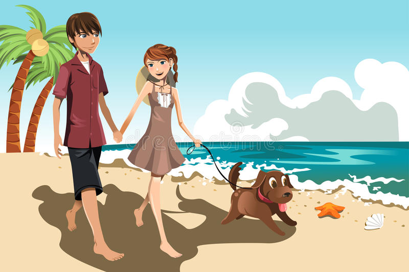 Young couple on the beach vector illustration