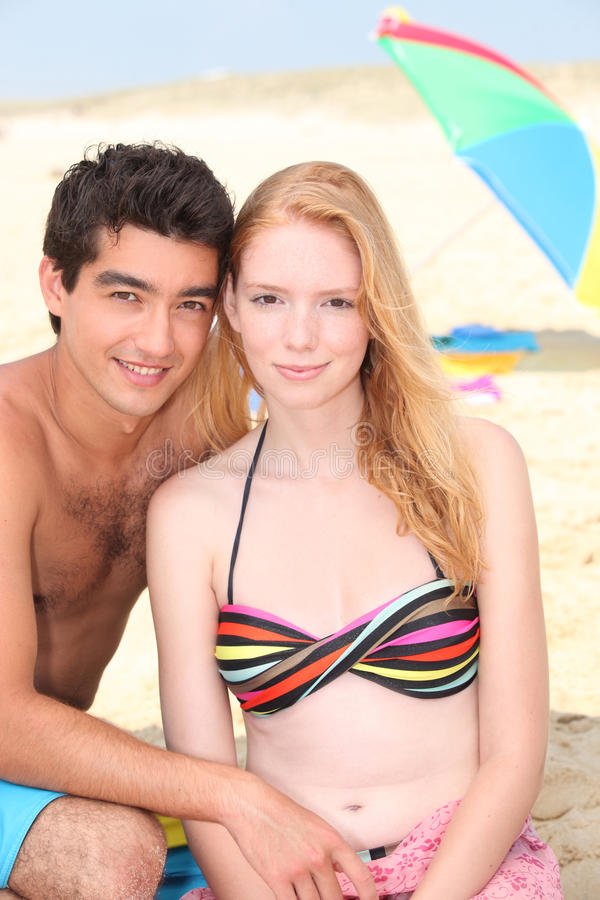 Download Young couple on a beach stock image. Image of sunny, summer - 28641707