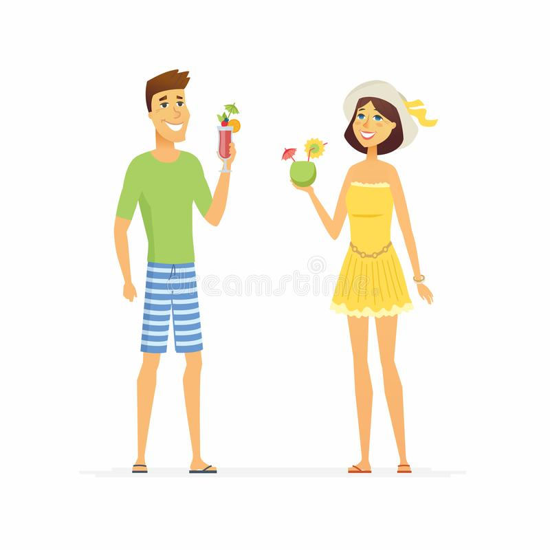 Young couple on beach holiday - cartoon people character isolated illustration. On white background. Happy smiling man and woman relaxing with cocktails in vector illustration