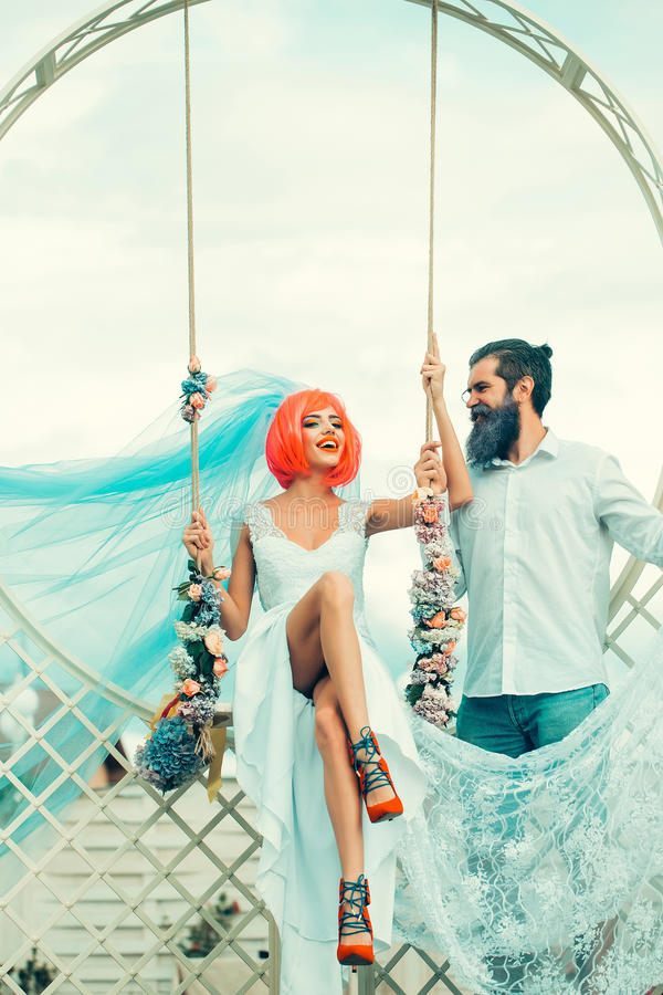 Young couple of bride woman and bearded man stock photos