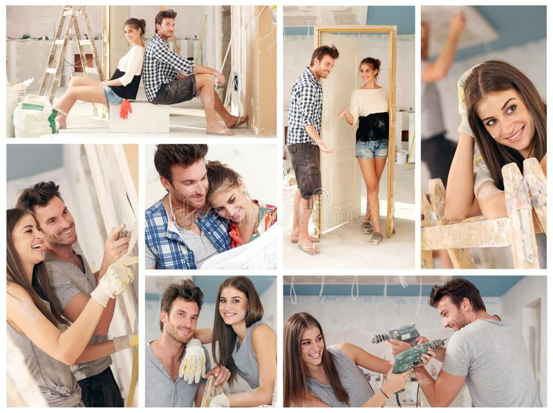 Young couple building new house stock image