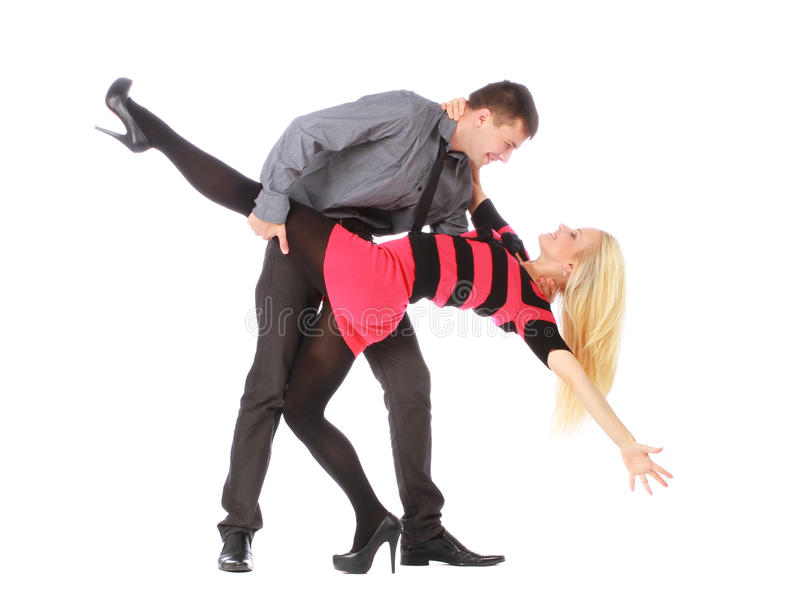 Download Young Couple In Business Clothes On Dancing Pose Stock Image - Image: 26324197