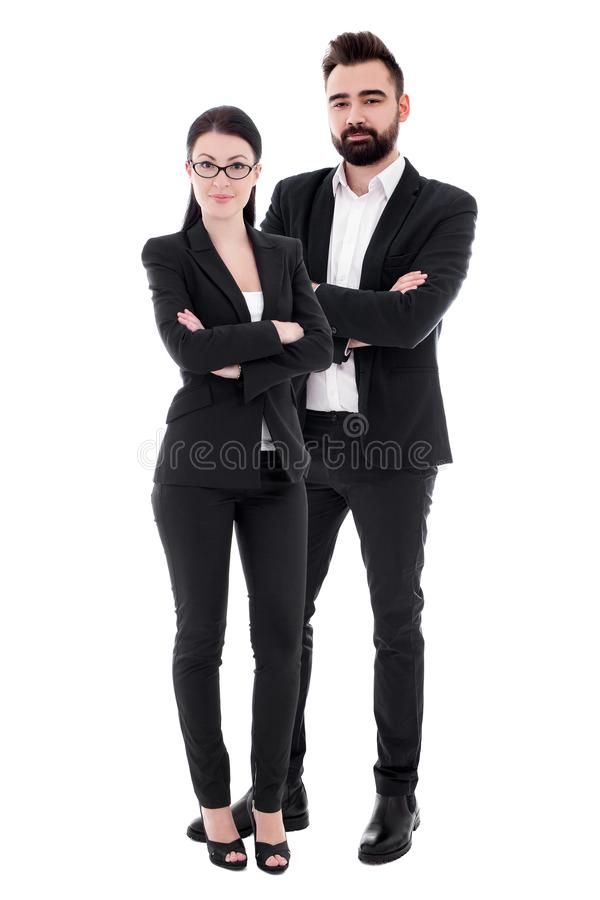 Young couple in business suits isolated on white stock photography