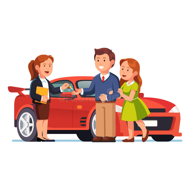 Free Young Couple Buying Or Renting New Red Car Stock Photography - 91590522