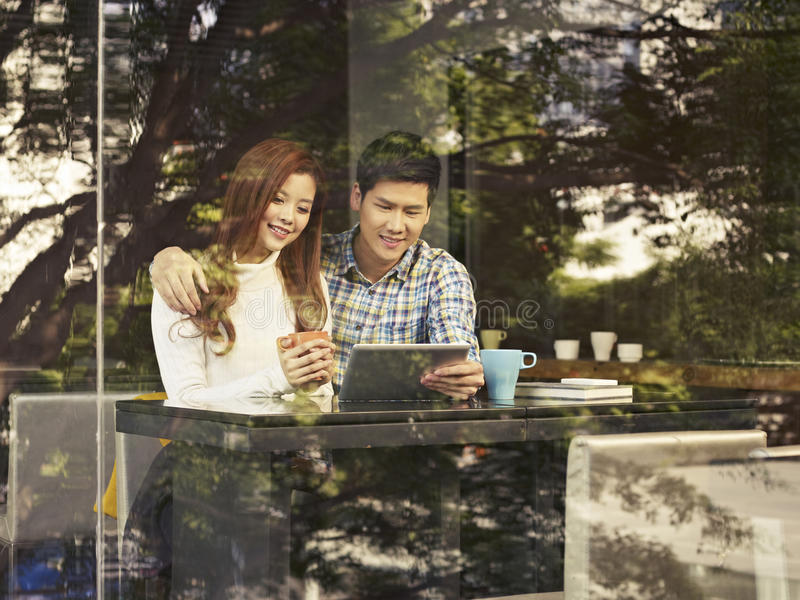 Young couple in cafe royalty free stock image