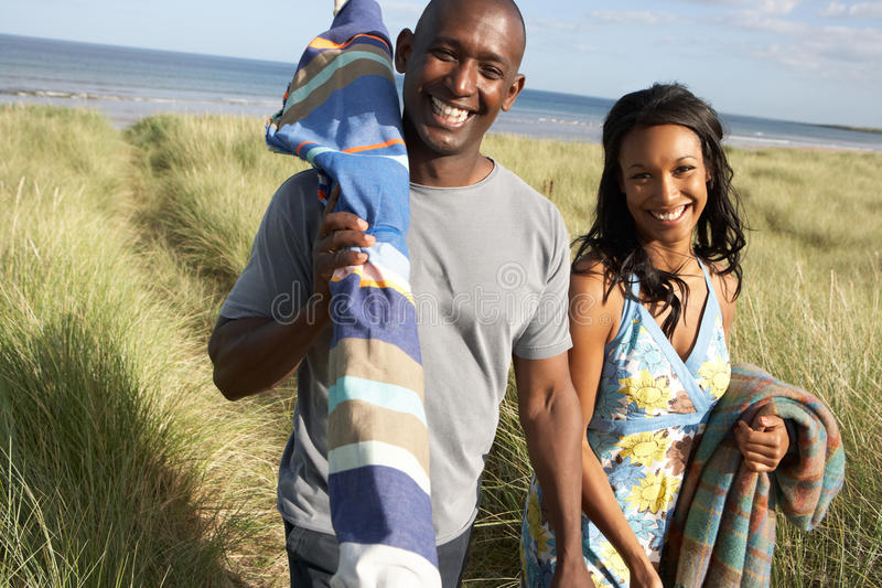 Download Young Couple Carrying Picnic Basket And Windbreak Stock Image - Image: 13672913